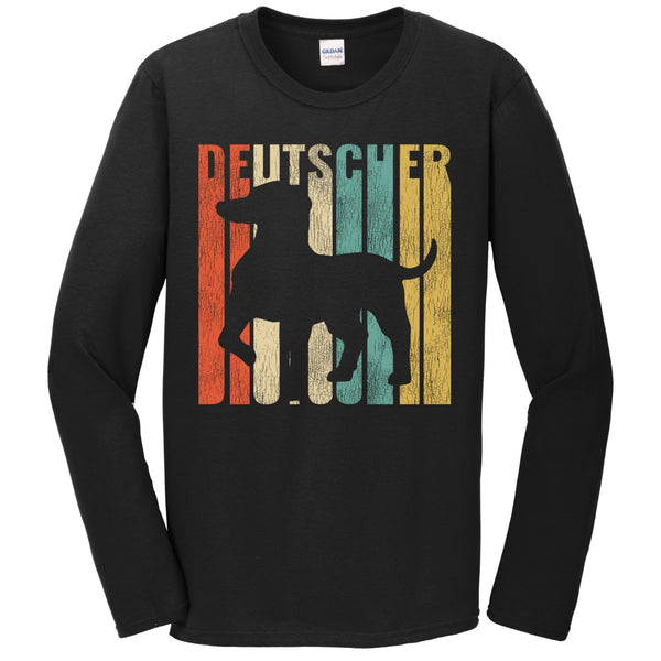 Retro 1970's Style Deutscher Dog Silhouette German Shorthaired Pointer Cracked Distressed Long Sleeve T-Shirt