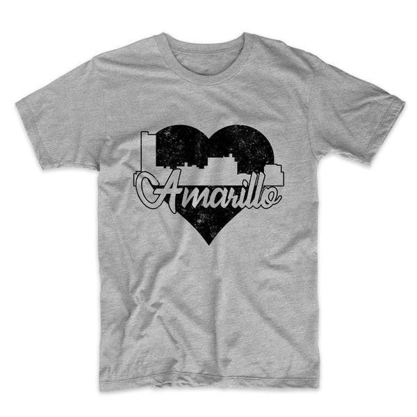 Retro Amarillo Texas Skyline Heart Distressed T-Shirt