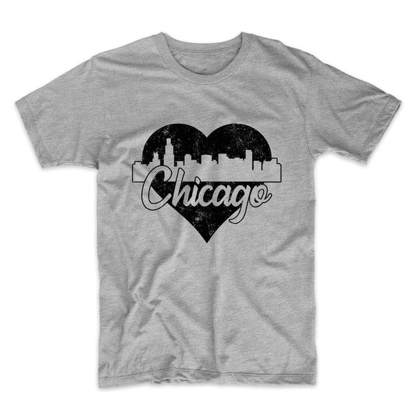 Retro Chicago Illinois Skyline Heart Distressed T-Shirt
