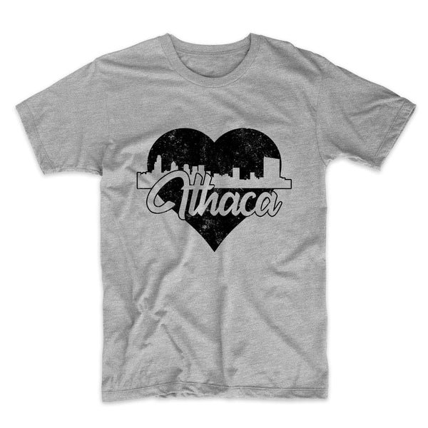 Retro Ithaca New York Skyline Heart Distressed T-Shirt