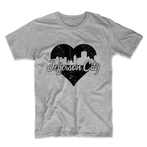 Retro Jefferson City Missouri Skyline Heart Distressed T-Shirt