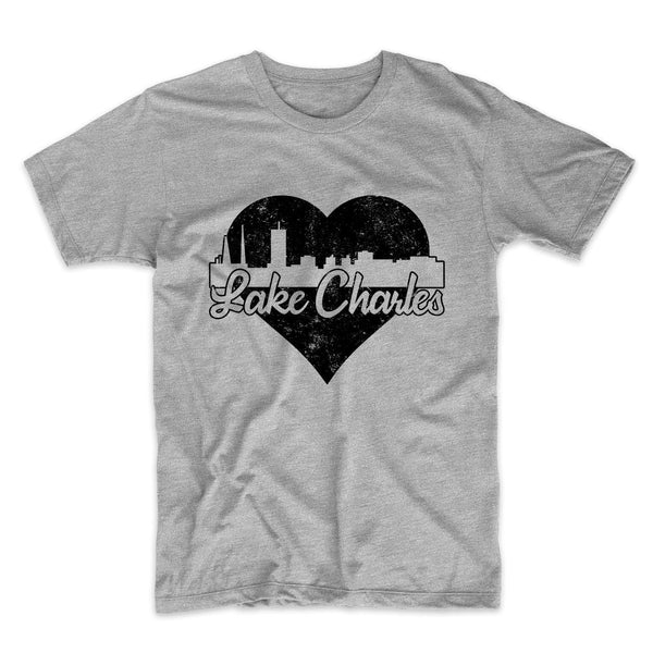 Retro Lake Charles Louisiana Skyline Heart Distressed T-Shirt