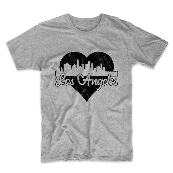 Retro Los Angeles California Skyline Heart Distressed T-Shirt
