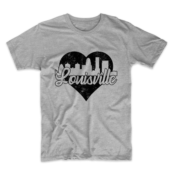 Retro Louisville Kentucky Skyline Heart Distressed T-Shirt