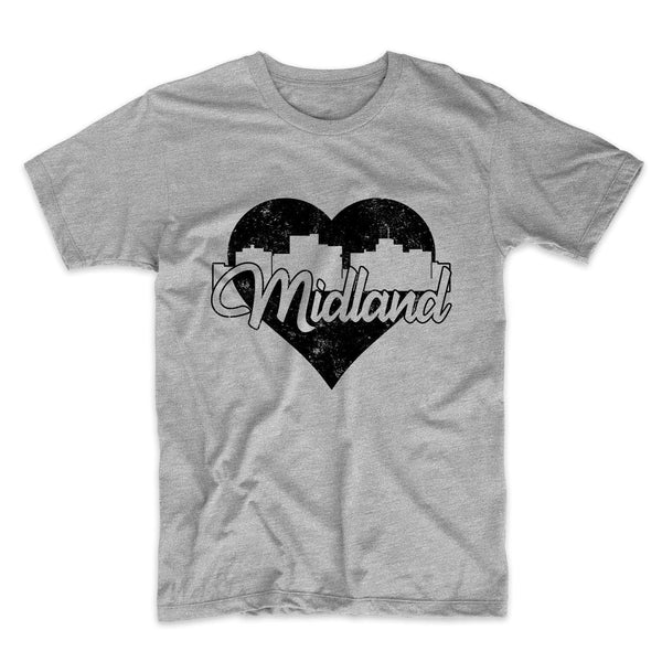 Retro Midland Texas Skyline Heart Distressed T-Shirt