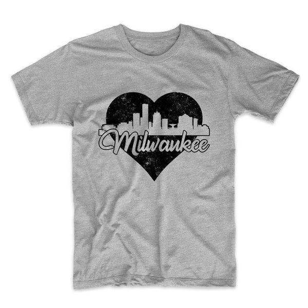 Retro Milwaukee Wisconsin Skyline Heart Distressed T-Shirt