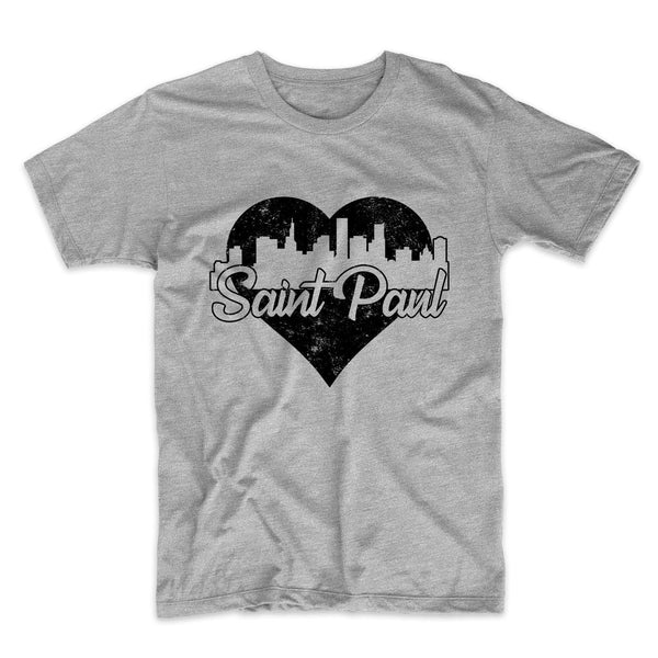 Retro Saint Paul Minnesota Skyline Heart Distressed T-Shirt
