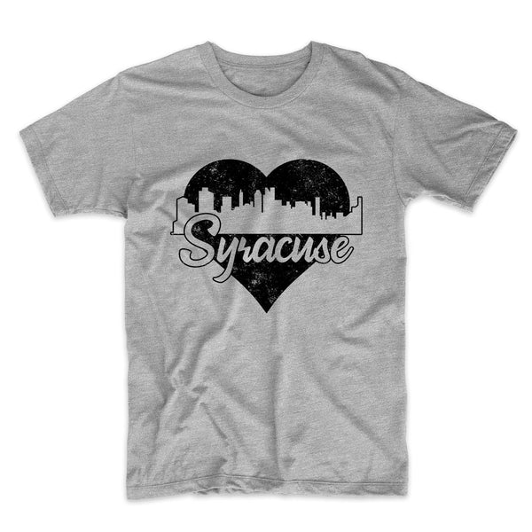 Retro Syracuse New York Skyline Heart Distressed T-Shirt