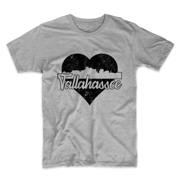 Retro Tallahassee Florida Skyline Heart Distressed T-Shirt