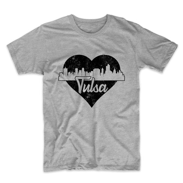 Retro Tulsa Oklahoma Skyline Heart Distressed T-Shirt