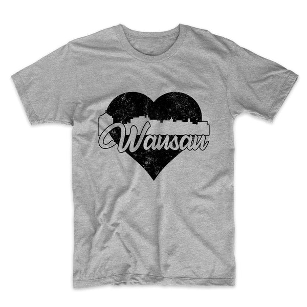 Retro Wausau Wisconsin Skyline Heart Distressed T-Shirt