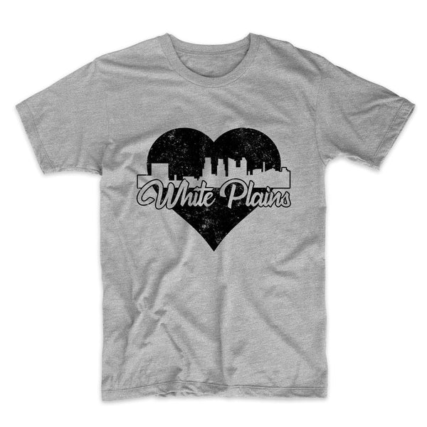 Retro White Plains New York Skyline Heart Distressed T-Shirt