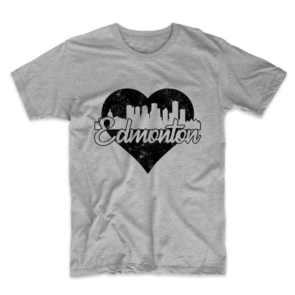 Retro Edmonton Alberta Canada Skyline Heart Distressed T-Shirt
