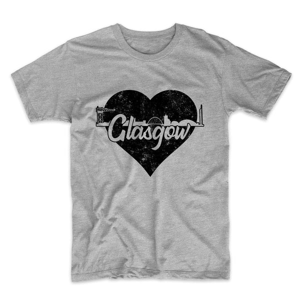 Retro Glasgow Scotland Skyline Heart Distressed T-Shirt