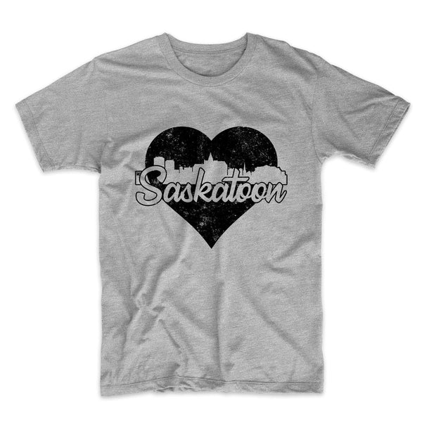 Retro Saskatoon Saskatchewan Canada Skyline Heart Distressed T-Shirt
