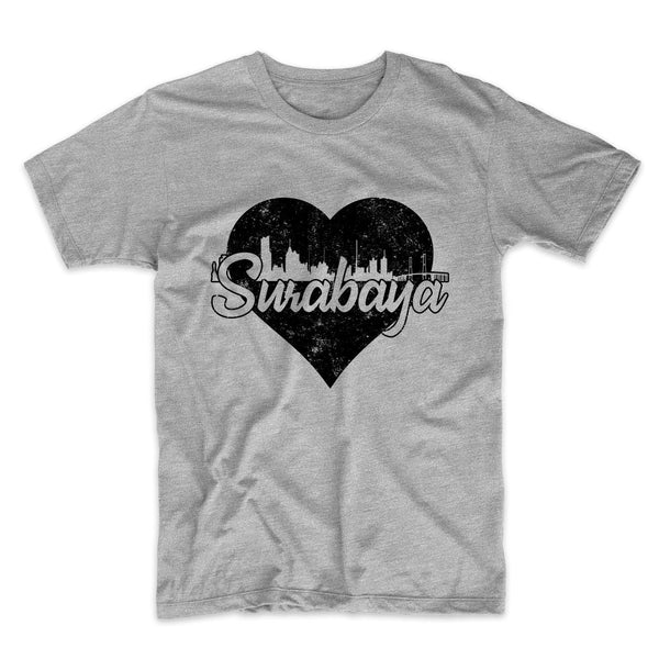 Retro Surabaya Indonesia Skyline Heart Distressed T-Shirt