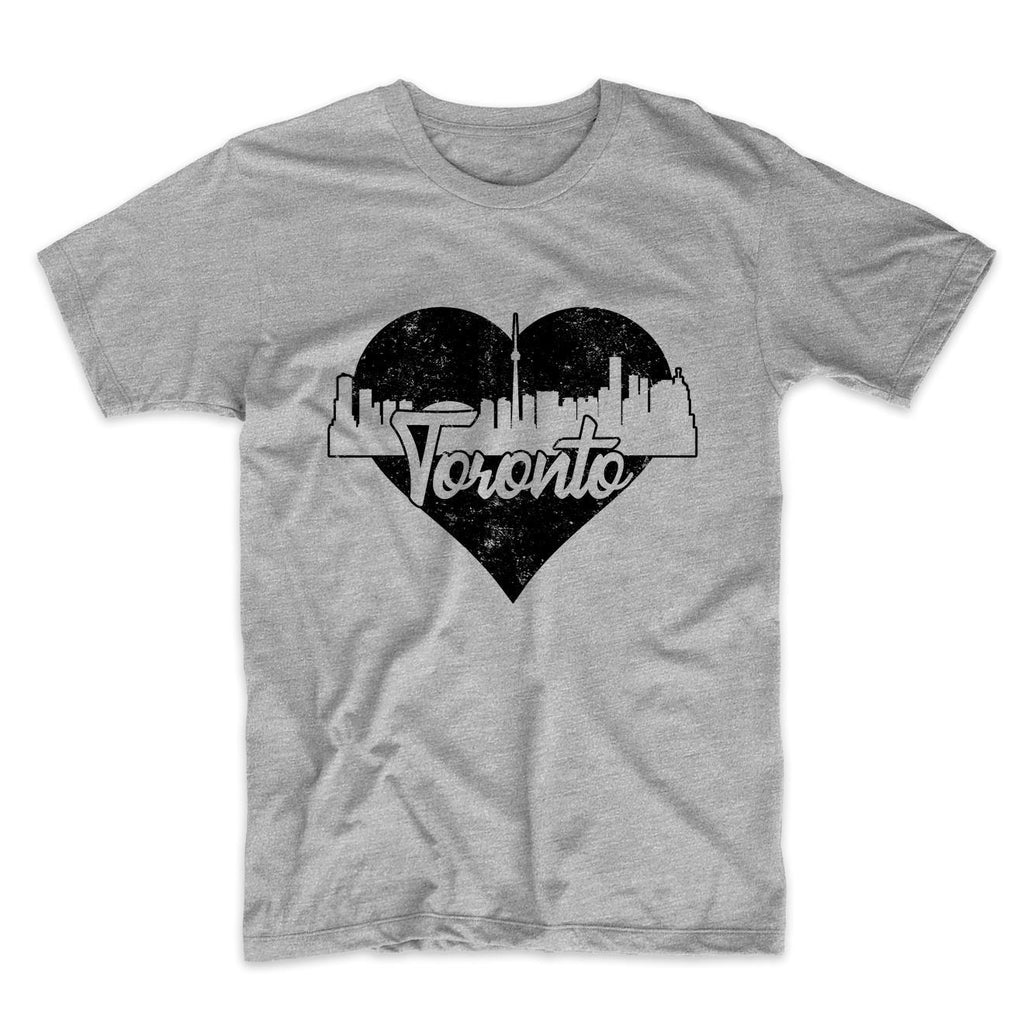 Retro Toronto Ontario Canada Skyline Heart Distressed T-Shirt