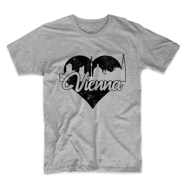 Retro Vienna Austria Skyline Heart Distressed T-Shirt