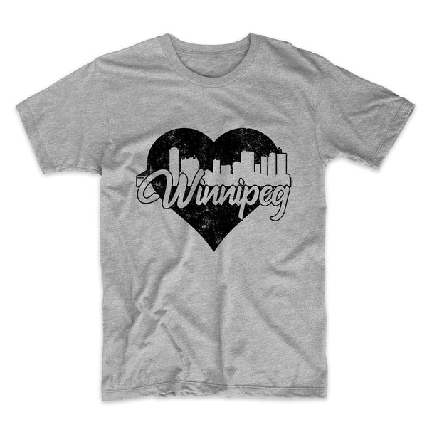 Retro Winnipeg Manitoba Canada Skyline Heart Distressed T-Shirt