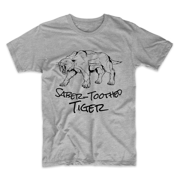 Saber-Toothed Tiger Sketch Cool Prehistoric Animal Smilodon T-Shirt