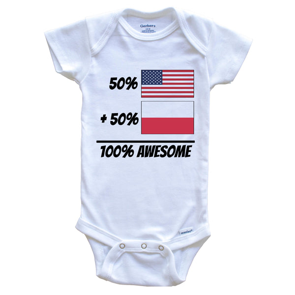 50% American Plus 50% Polish Equals 100% Awesome Cute Poland Flag Baby Onesie