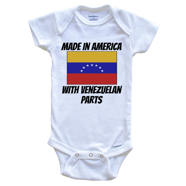 Made In America With Venezuelan Parts Venezuela Flag Funny Baby Onesie