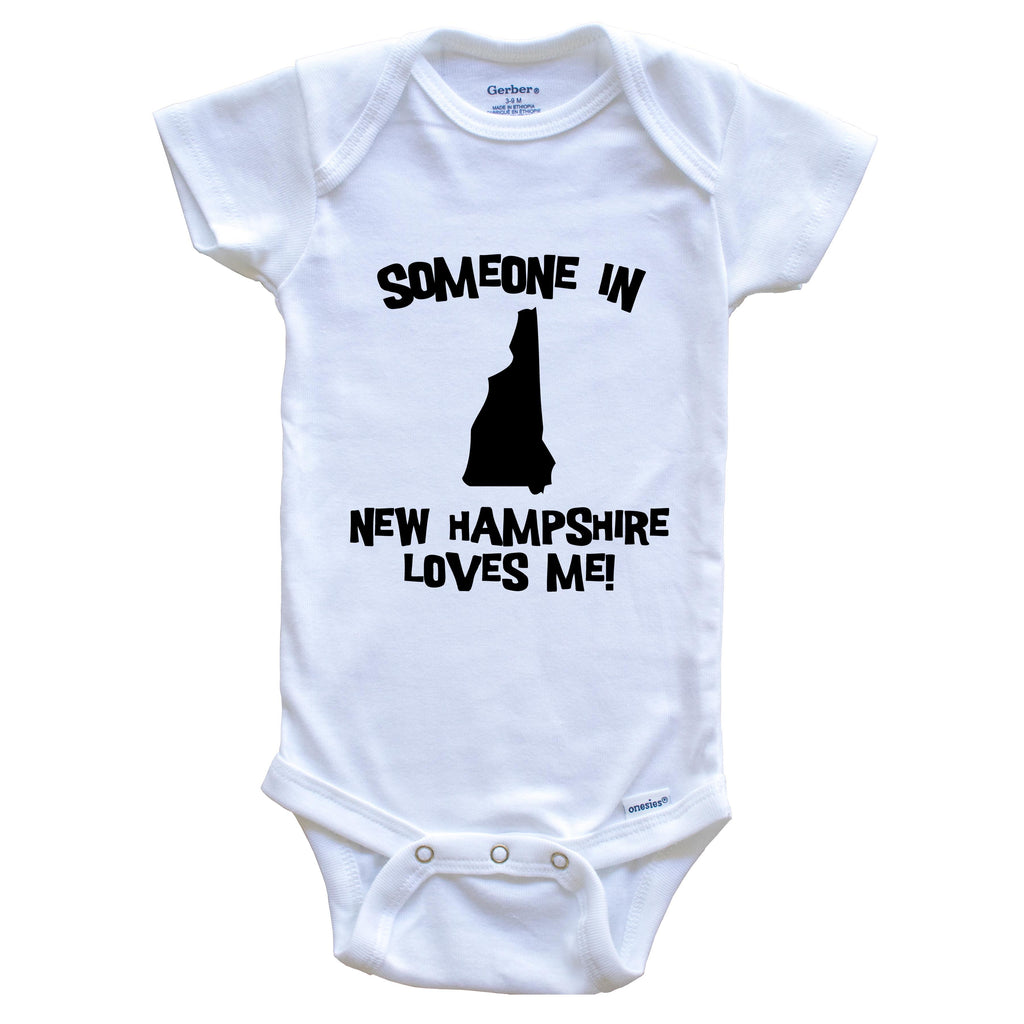 Someone In New Hampshire Loves Me State Silhouette Cute Baby Onesie - One Piece Baby Bodysuit
