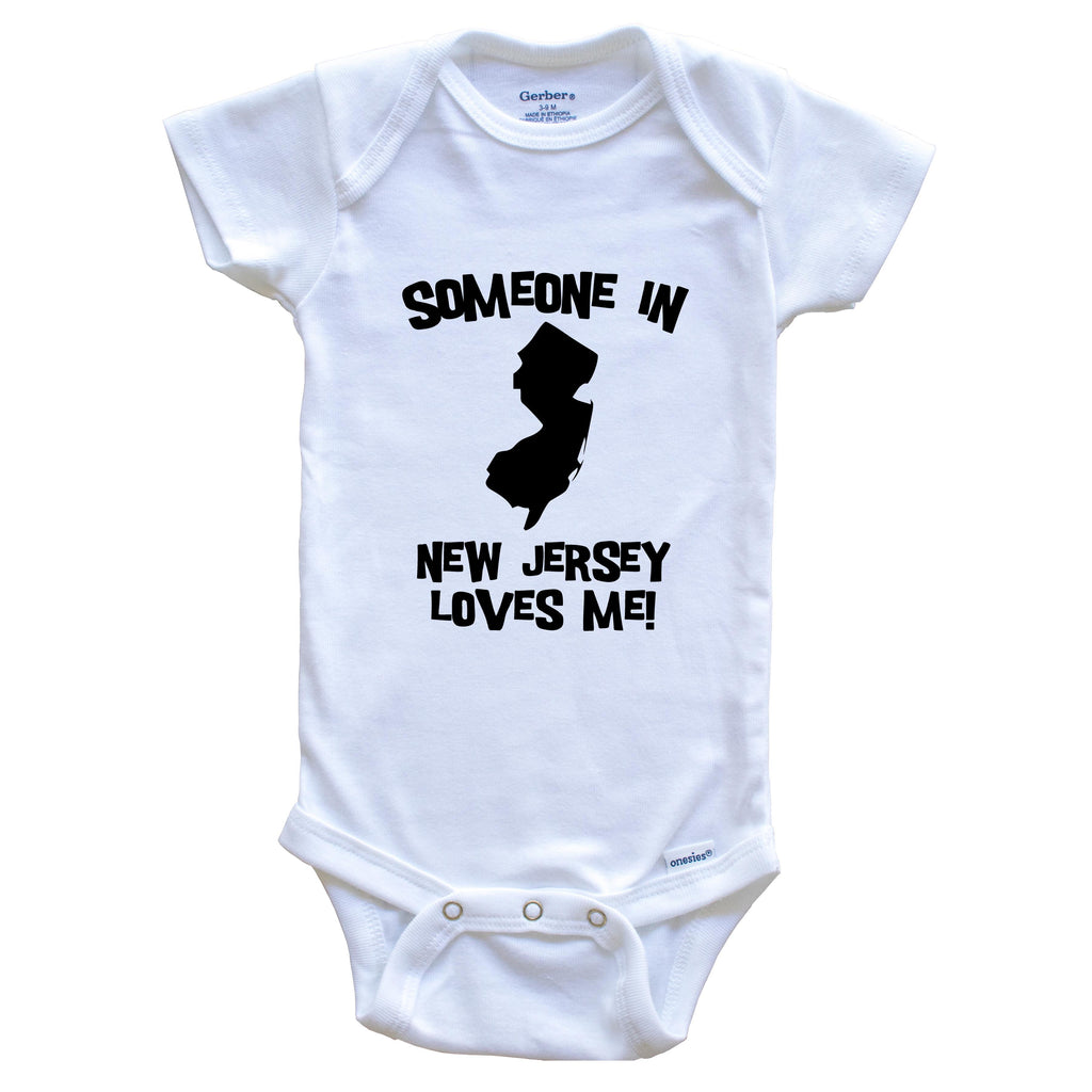 Someone In New Jersey Loves Me State Silhouette Cute Baby Onesie - One Piece Baby Bodysuit