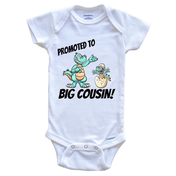 Promoted To Big Cousin New Baby Announcement Dinosaur Onesie - One Piece Baby Bodysuit