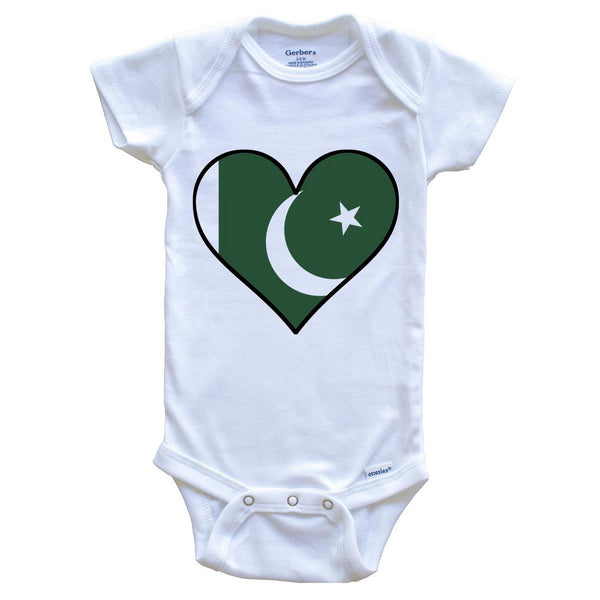 Pakistani Flag Onesie - Cute Pakistani Flag Heart - Pakistan Baby Bodysuit