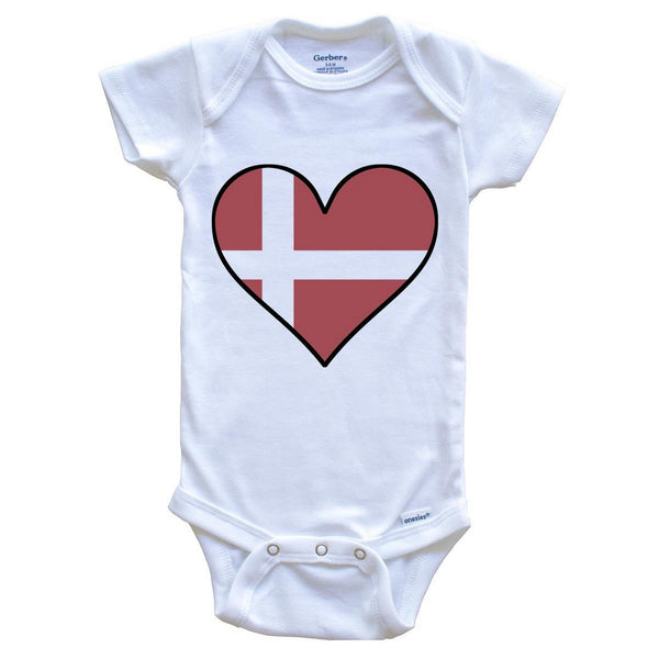 Danish Flag Onesie - Cute Danish Flag Heart - Denmark Baby Bodysuit