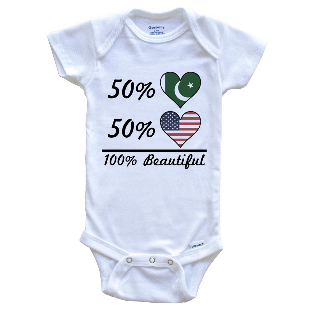 50% Pakistani 50% American 100% Beautiful Pakistan Flag Heart Baby Onesie