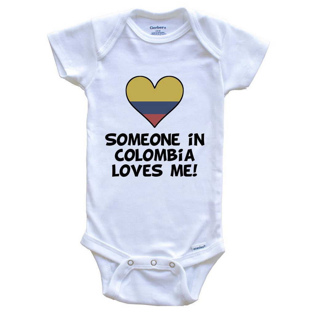 Someone In Colombia Loves Me Colombian Flag Heart Baby Onesie