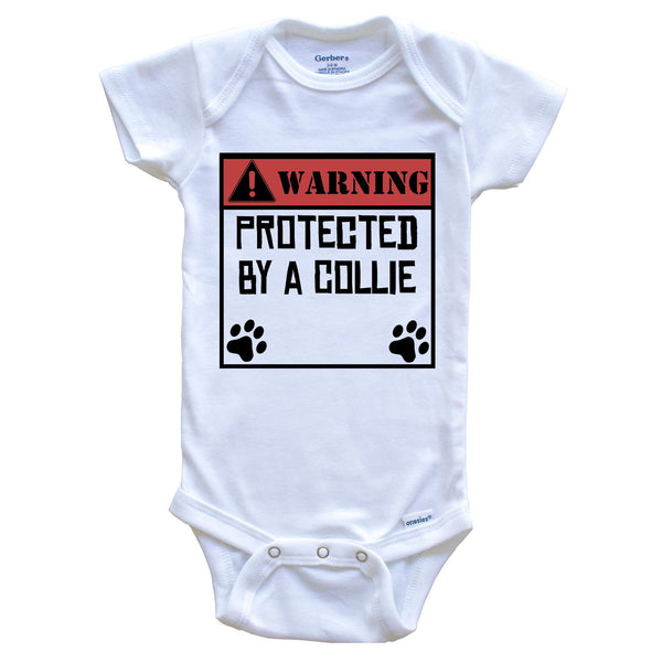 Warning Protected By A Chessie Funny Baby Onesie