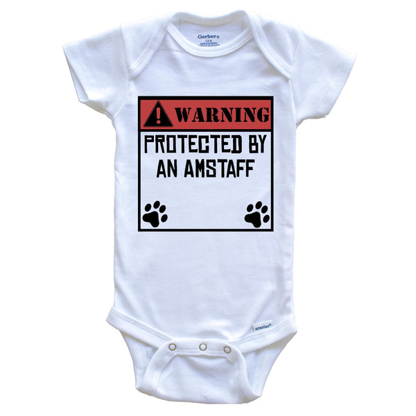 Warning Protected By A Yorkie Funny Baby Onesie