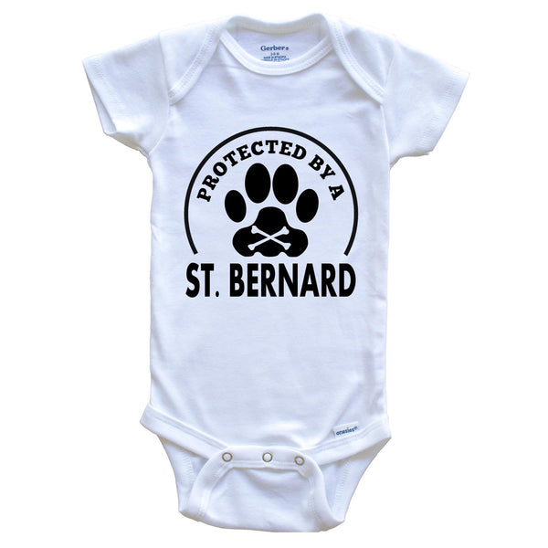 Protected By A St. Bernard Funny Baby Onesie