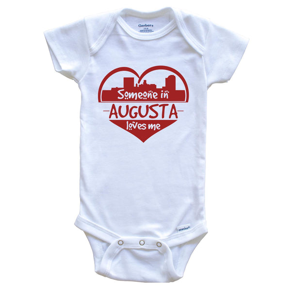 Someone in Augusta Loves Me Augusta Georgia Skyline Heart Baby Onesie