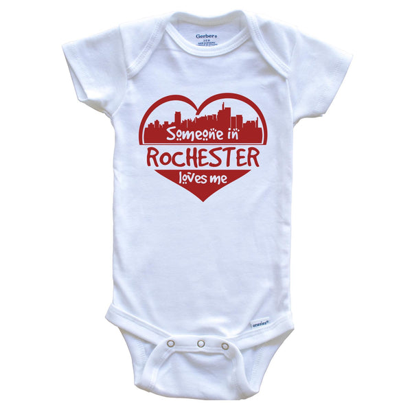 Someone in Rochester Loves Me Rochester Michigan Skyline Heart Baby Onesie
