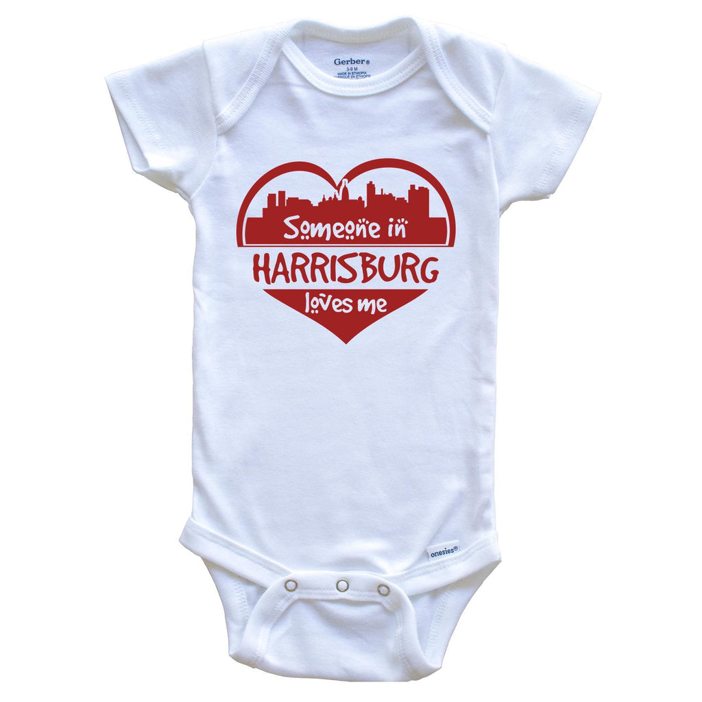 Someone in Harrisburg Loves Me Harrisburg Pennsylvania Skyline Heart Baby Onesie