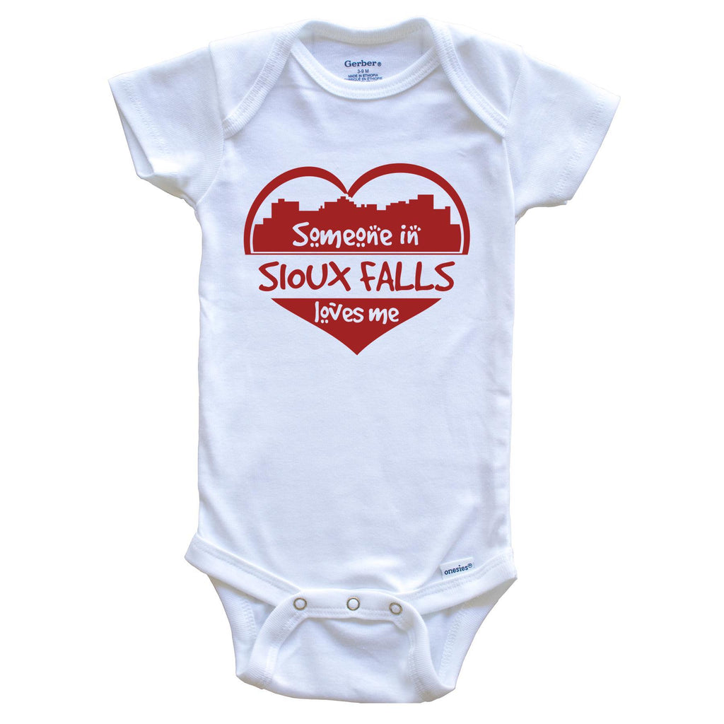 Someone in Sioux Falls Loves Me Sioux Falls South Dakota Skyline Heart Baby Onesie
