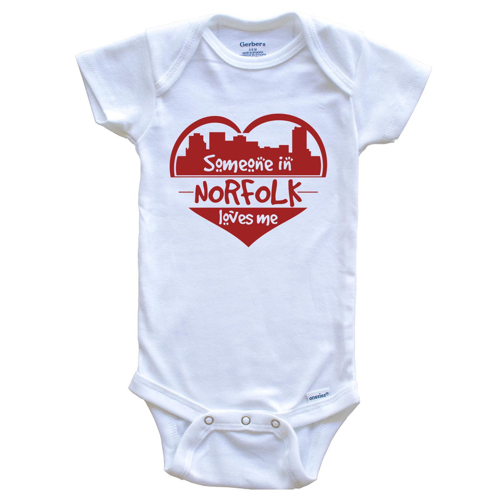 Someone in Norfolk Loves Me Norfolk Virginia Skyline Heart Baby Onesie