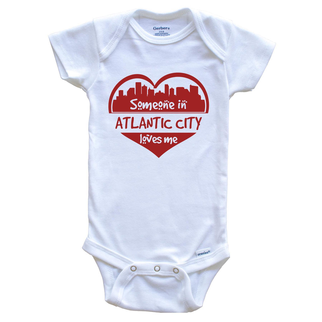 Someone in Atlantic City Loves Me Atlantic City New Jersey Skyline Heart Baby Onesie