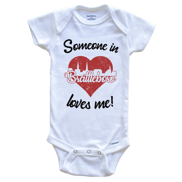 Someone In Brattleboro Loves Me Red Heart Skyline Baby Onesie
