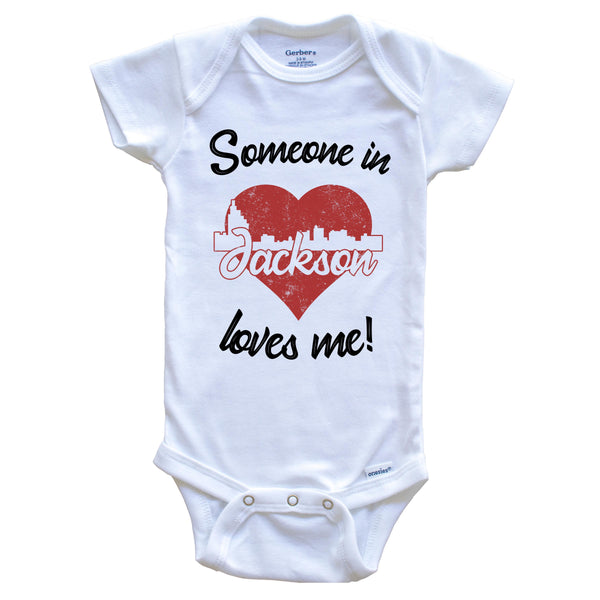 Someone In Jackson Loves Me Red Heart Skyline Baby Onesie