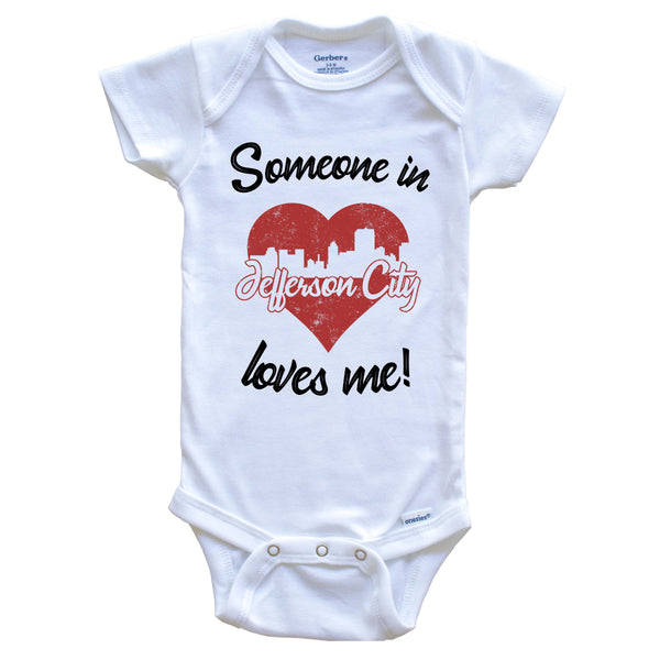 Someone In Jefferson City Loves Me Red Heart Skyline Baby Onesie