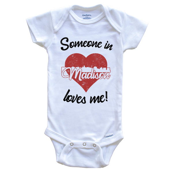 Someone In Madison Loves Me Red Heart Skyline Baby Onesie