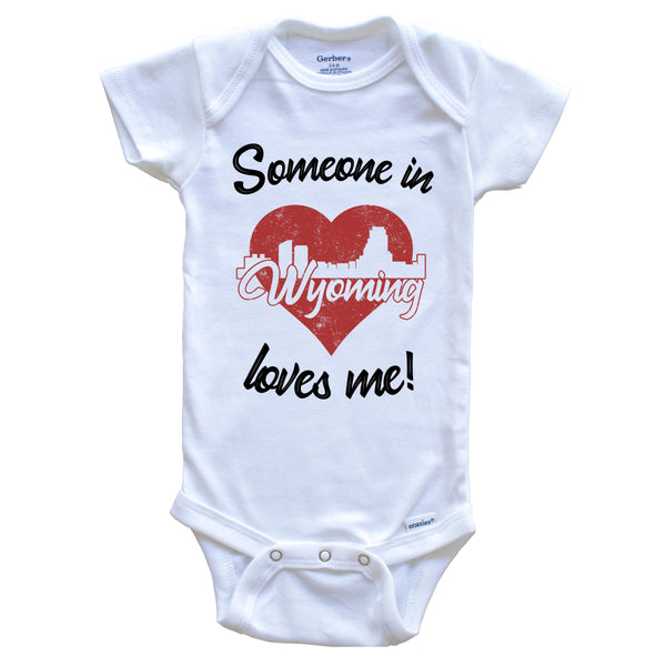 Someone In Wyoming Loves Me Red Heart Skyline Baby Onesie