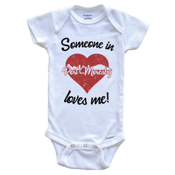 Someone In Port Moresby Loves Me Red Heart Skyline Baby Onesie