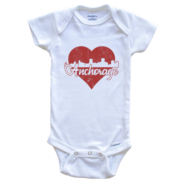 Retro Anchorage Alaska Skyline Red Heart Baby Onesie