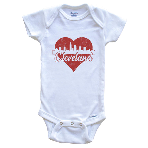 Retro Cleveland Ohio Skyline Red Heart Baby Onesie